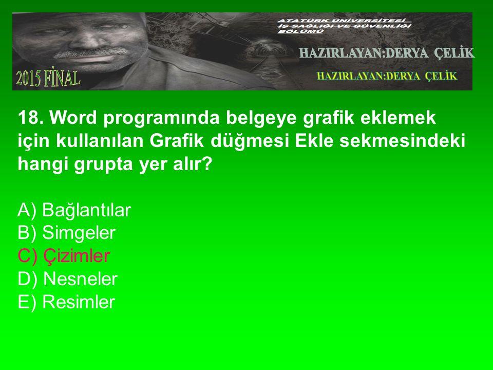 18. Word programında belgeye grafik eklemek için kullanılan Grafik düğmesi Ekle sekmesindeki hangi grupta yer alır? A) Bağlantılar B) Simgeler C) Çizi