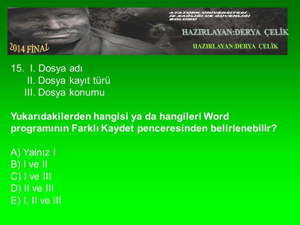 15.I. Dosya adı II. Dosya kayıt türü III.