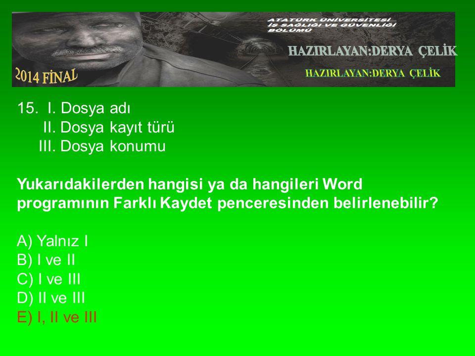 15. I. Dosya adı II. Dosya kayıt türü III.