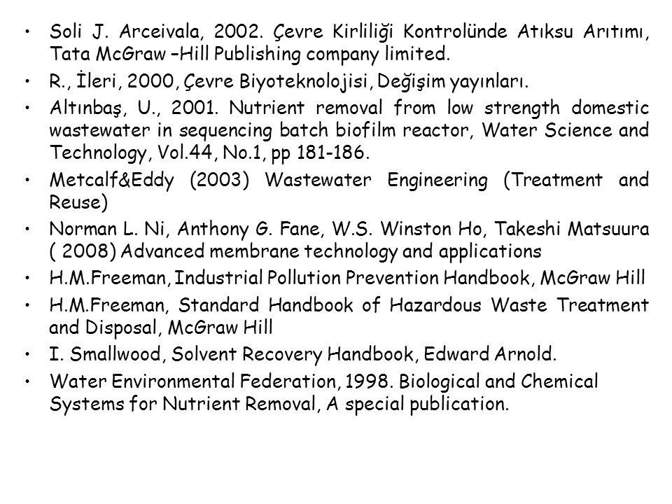 Soli J. Arceivala, 2002. Çevre Kirliliği Kontrolünde Atıksu Arıtımı, Tata McGraw –Hill Publishing company limited. R., İleri, 2000, Çevre Biyoteknoloj