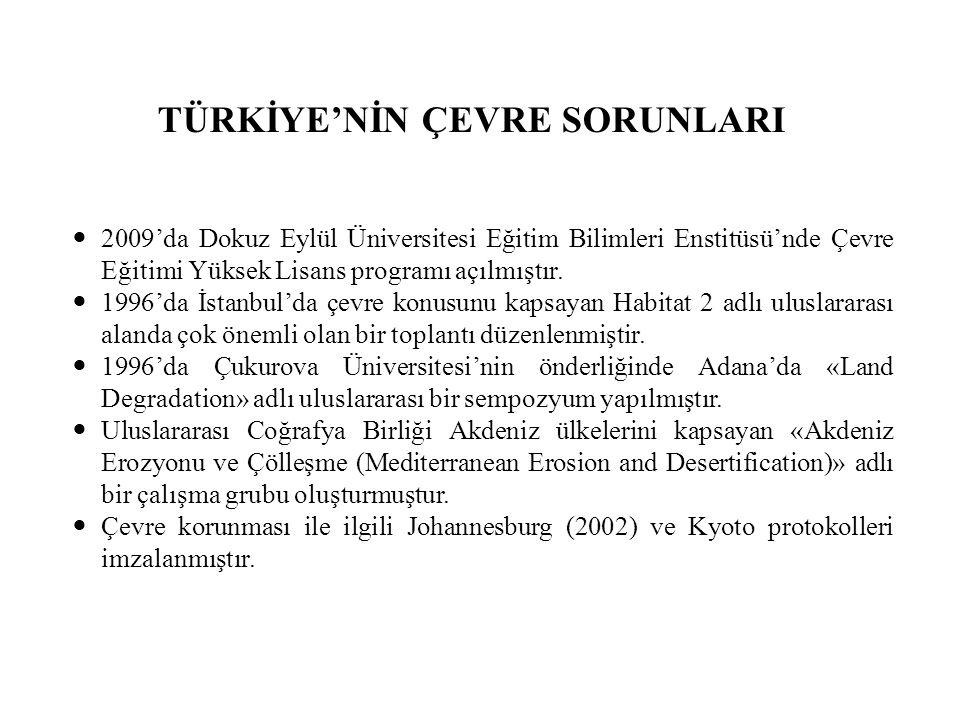 TÜRKİYE'NİN ÇEVRE SORUNLARI 2009'da Dokuz Eylül Üniversitesi Eğitim Bilimleri Enstitüsü'nde Çevre Eğitimi Yüksek Lisans programı açılmıştır.