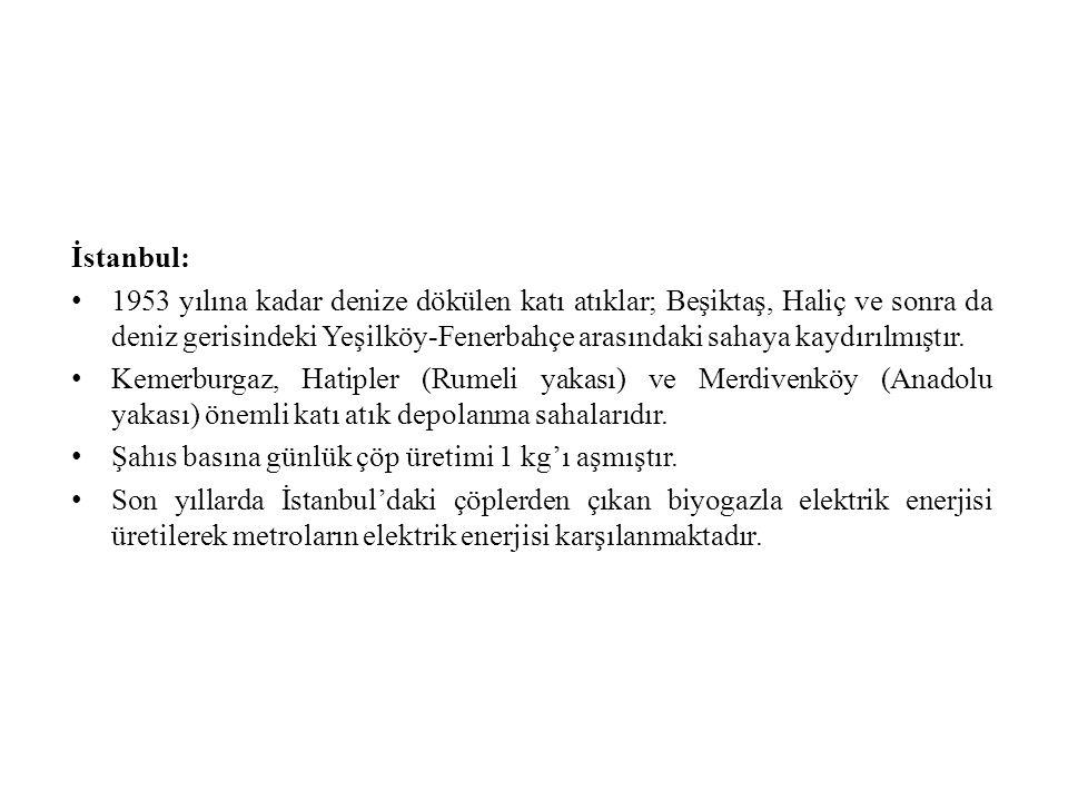İstanbul: 1953 yılına kadar denize dökülen katı atıklar; Beşiktaş, Haliç ve sonra da deniz gerisindeki Yeşilköy-Fenerbahçe arasındaki sahaya kaydırılmıştır.