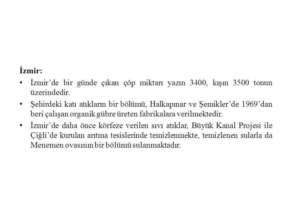 İzmir: İzmir'de bir günde çıkan çöp miktarı yazın 3400, kışın 3500 tonun üzerindedir.