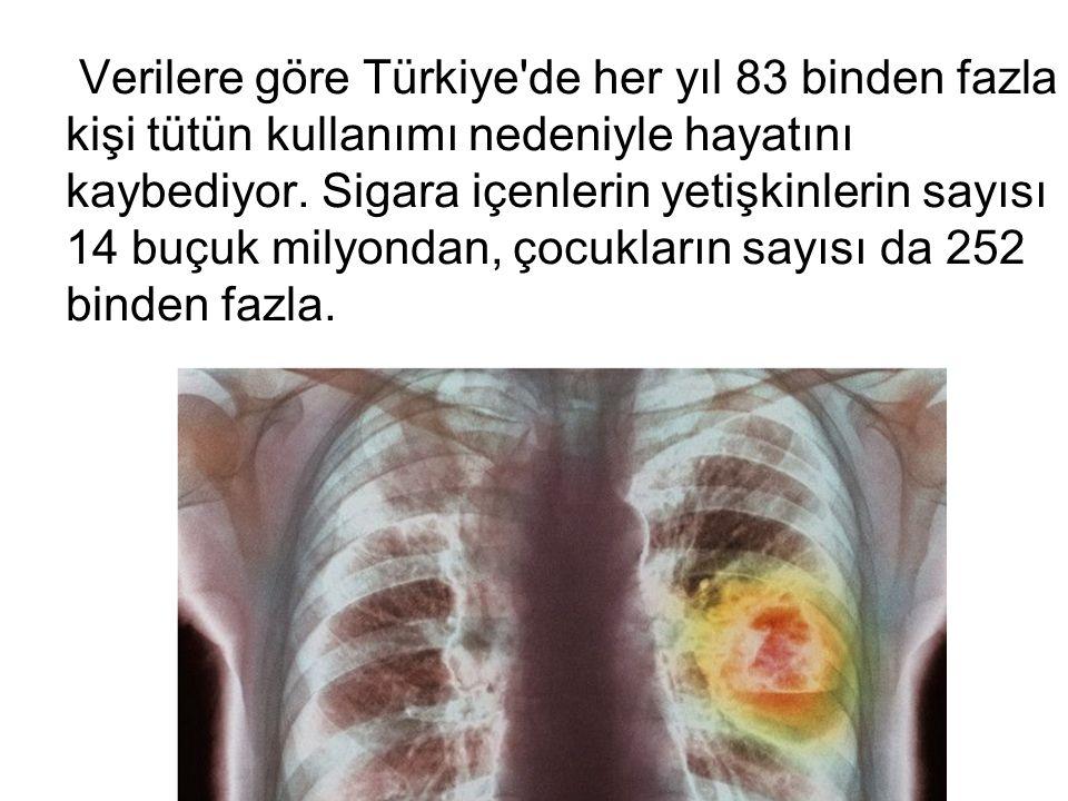 Verilere göre Türkiye'de her yıl 83 binden fazla kişi tütün kullanımı nedeniyle hayatını kaybediyor. Sigara içenlerin yetişkinlerin sayısı 14 buçuk mi