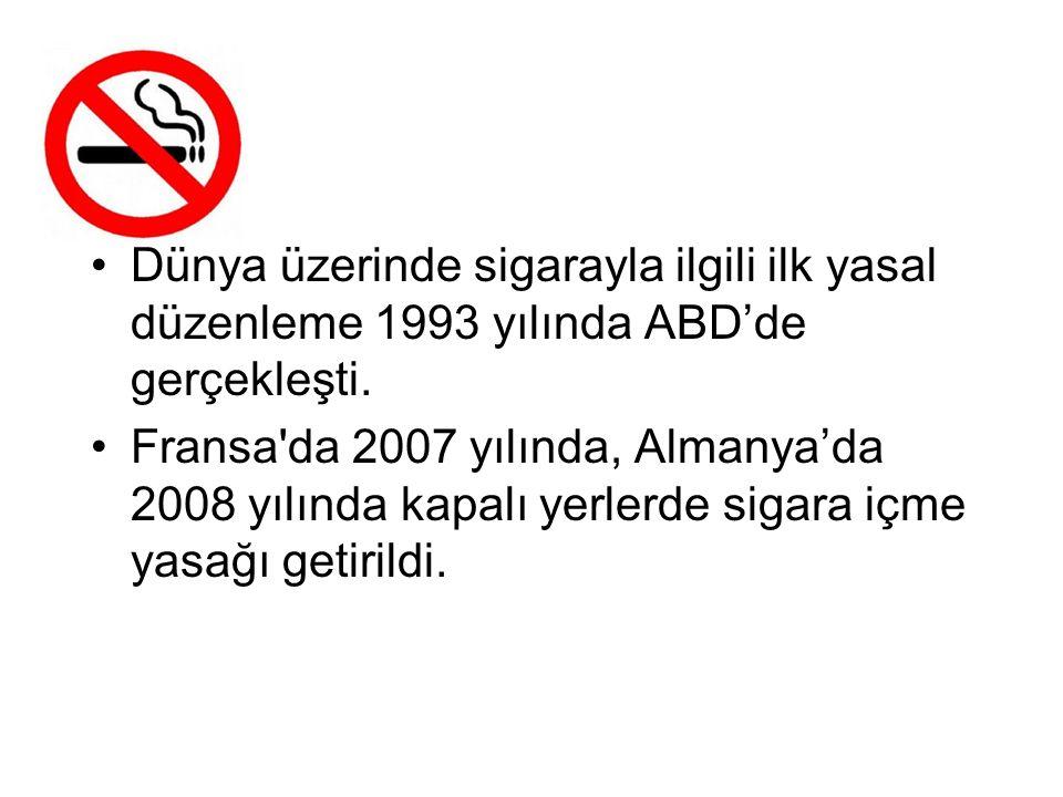 Dünya üzerinde sigarayla ilgili ilk yasal düzenleme 1993 yılında ABD'de gerçekleşti. Fransa'da 2007 yılında, Almanya'da 2008 yılında kapalı yerlerde s