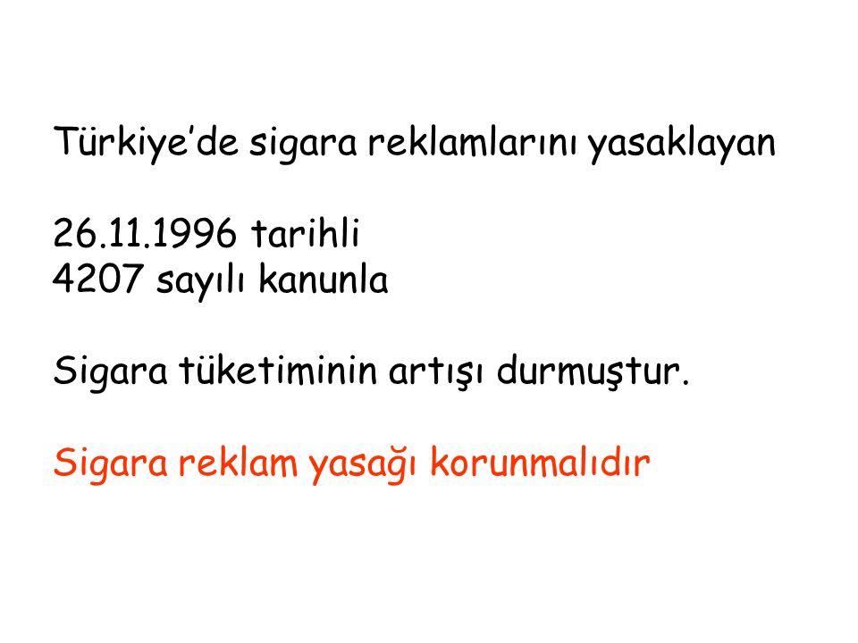Türkiye'de sigara reklamlarını yasaklayan 26.11.1996 tarihli 4207 sayılı kanunla Sigara tüketiminin artışı durmuştur. Sigara reklam yasağı korunmalıdı