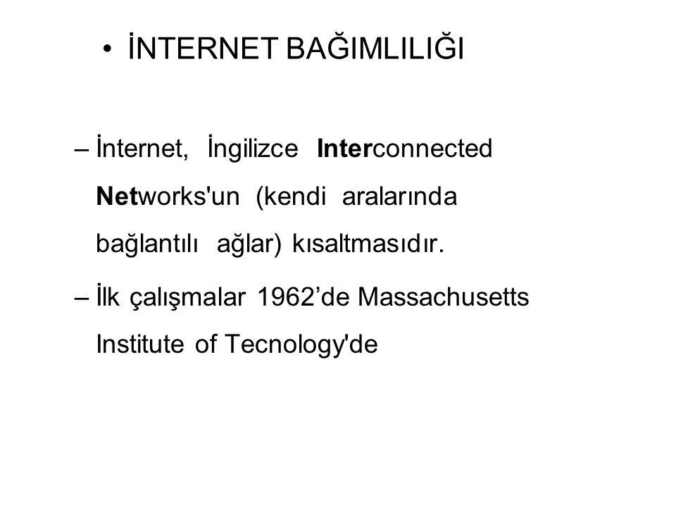 –İnternet, İngilizce Interconnected Networks'un (kendi aralarında bağlantılı ağlar) kısaltmasıdır. –İlk çalışmalar 1962'de Massachusetts Institute of