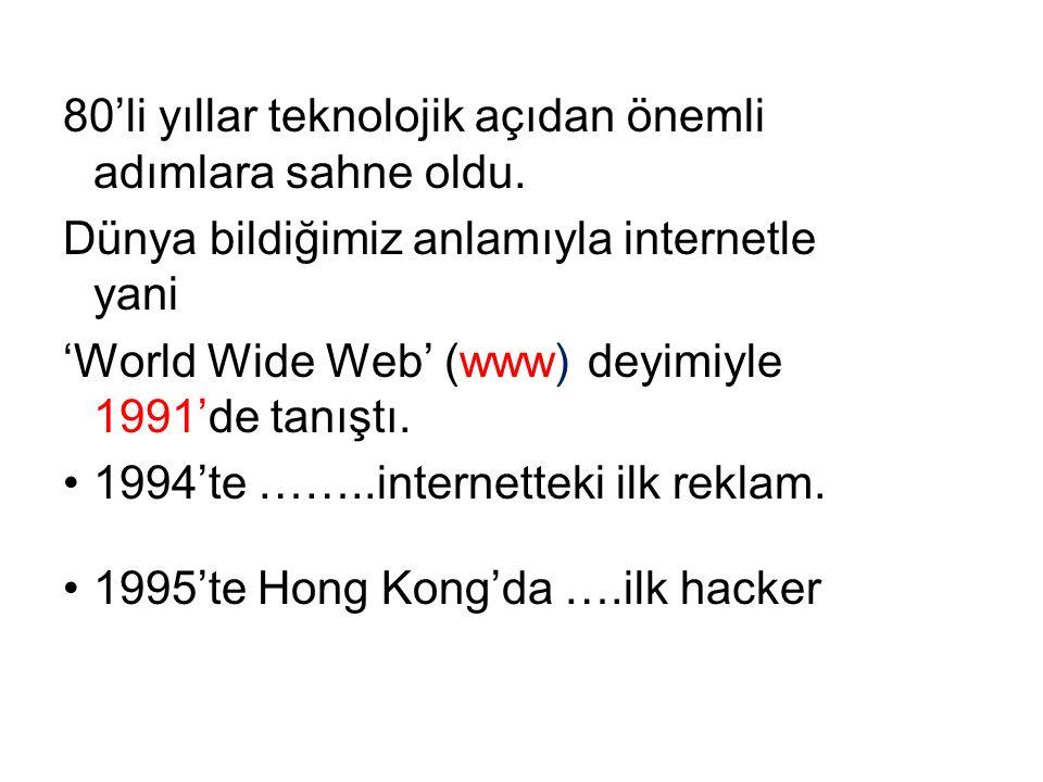 80'li yıllar teknolojik açıdan önemli adımlara sahne oldu. Dünya bildiğimiz anlamıyla internetle yani 'World Wide Web' (www) deyimiyle 1991'de tanıştı