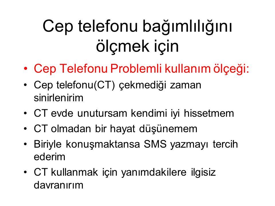 Cep telefonu bağımlılığını ölçmek için Cep Telefonu Problemli kullanım ölçeği: Cep telefonu(CT) çekmediği zaman sinirlenirim CT evde unutursam kendimi