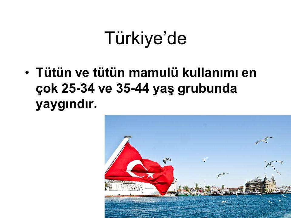 Türkiye'de Tütün ve tütün mamulü kullanımı en çok 25-34 ve 35-44 yaş grubunda yaygındır.