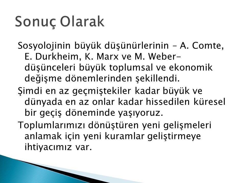 Sosyolojinin büyük düşünürlerinin – A.Comte, E. Durkheim, K.