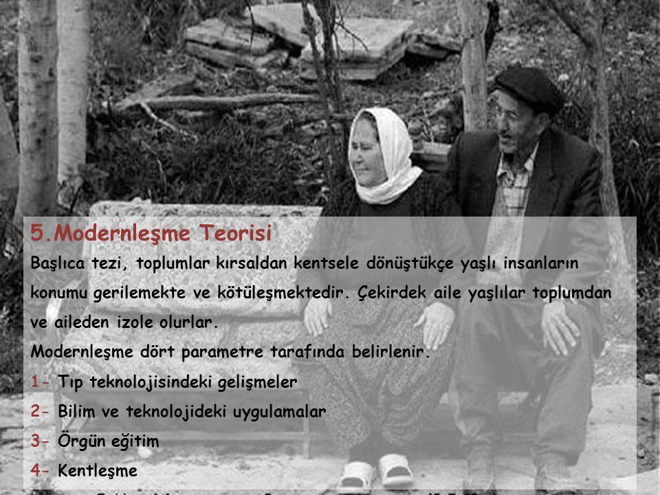 5.Modernleşme Teorisi Başlıca tezi, toplumlar kırsaldan kentsele dönüştükçe yaşlı insanların konumu gerilemekte ve kötüleşmektedir. Çekirdek aile yaşl