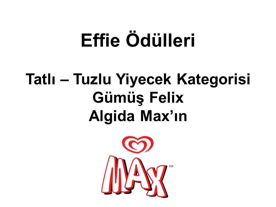 Effie Ödülleri Tatlı – Tuzlu Yiyecek Kategorisi Gümüş Felix Algida Max'ın