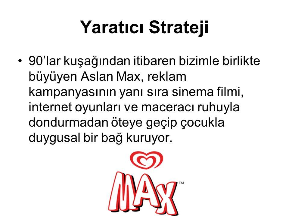 Yaratıcı Strateji 90'lar kuşağından itibaren bizimle birlikte büyüyen Aslan Max, reklam kampanyasının yanı sıra sinema filmi, internet oyunları ve maceracı ruhuyla dondurmadan öteye geçip çocukla duygusal bir bağ kuruyor.
