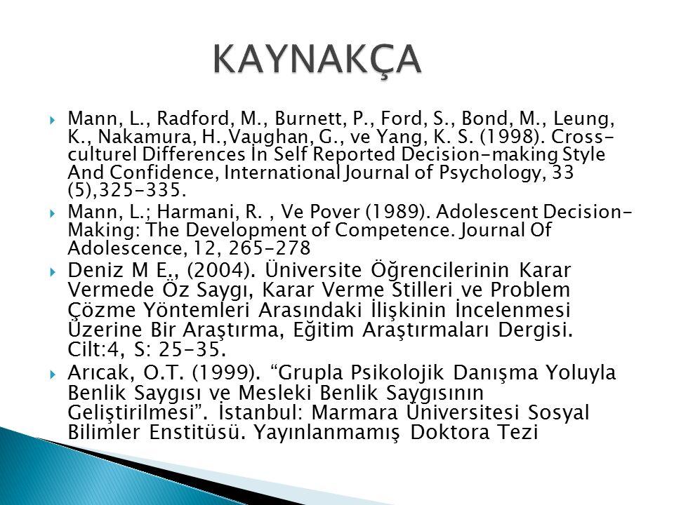  Mann, L., Radford, M., Burnett, P., Ford, S., Bond, M., Leung, K., Nakamura, H.,Vaughan, G., ve Yang, K. S. (1998). Cross- culturel Differences İn S