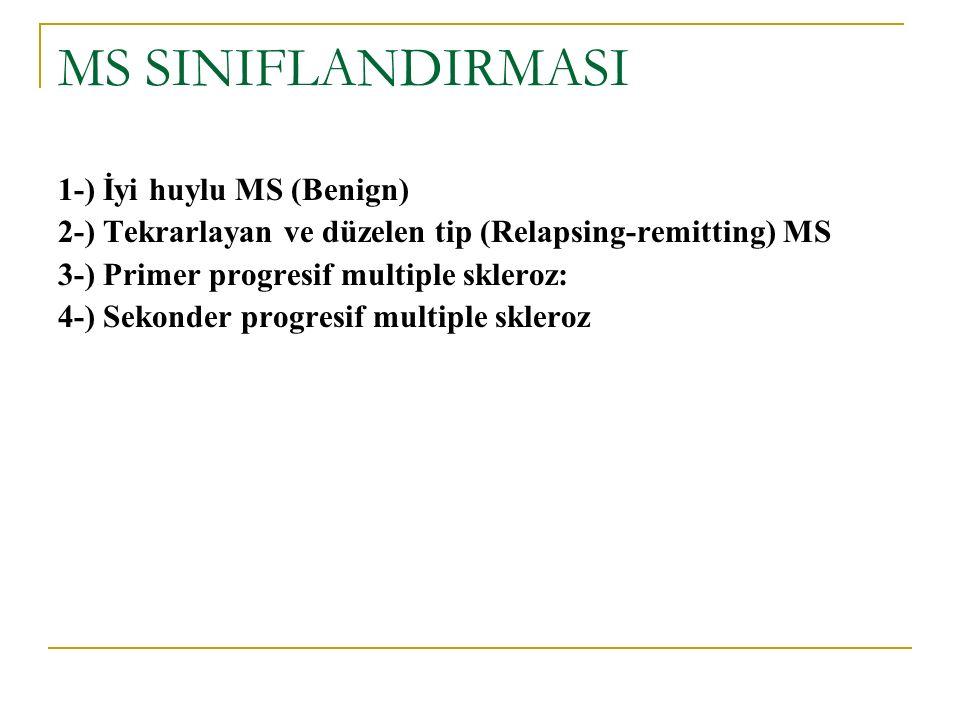 MS SINIFLANDIRMASI 1-) İyi huylu MS (Benign) 2-) Tekrarlayan ve düzelen tip (Relapsing-remitting) MS 3-) Primer progresif multiple skleroz: 4-) Sekond