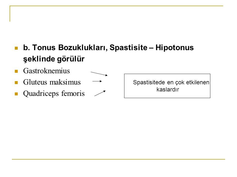 b. Tonus Bozuklukları, Spastisite – Hipotonus şeklinde görülür Gastroknemius Gluteus maksimus Quadriceps femoris Spastisitede en çok etkilenen kaslard