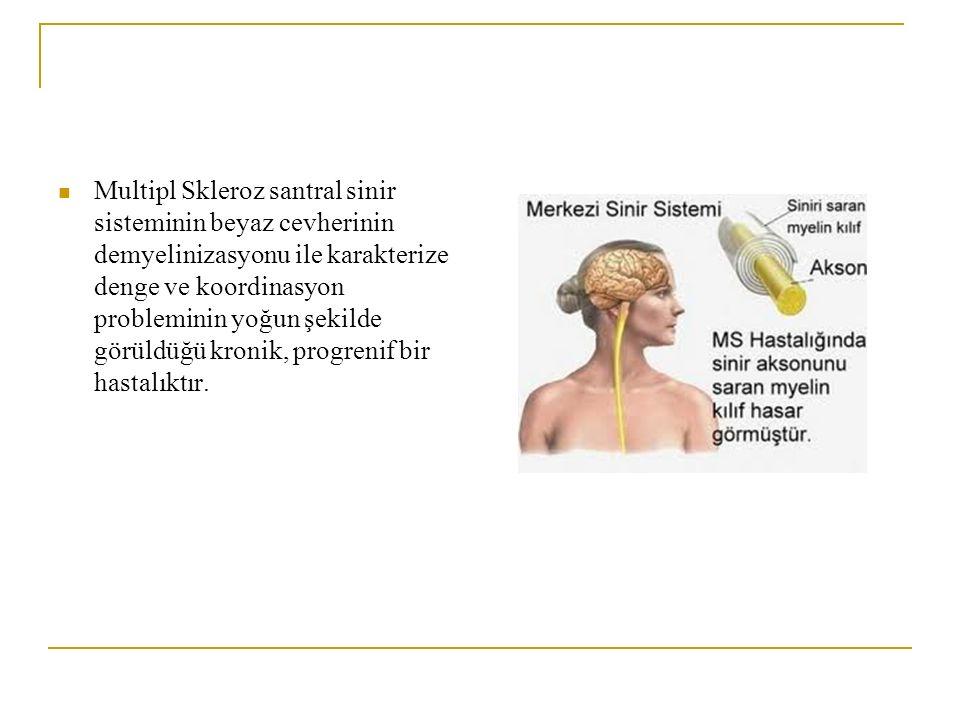 Multipl Skleroz santral sinir sisteminin beyaz cevherinin demyelinizasyonu ile karakterize denge ve koordinasyon probleminin yoğun şekilde görüldüğü k