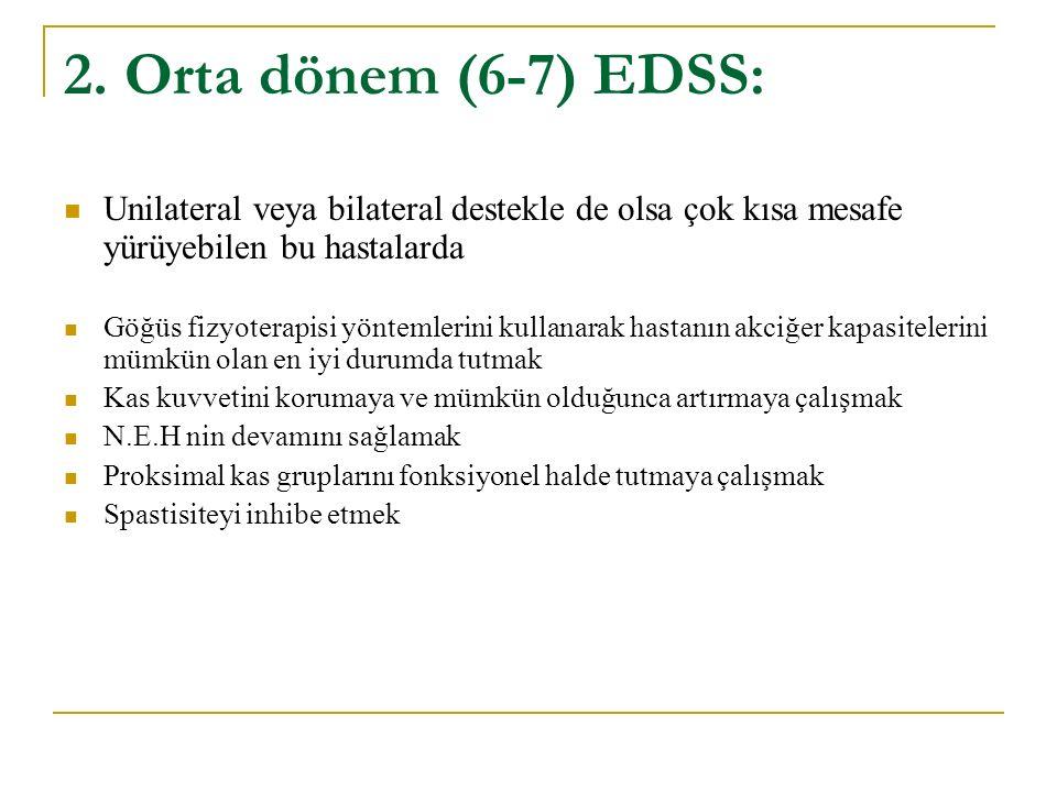 2. Orta dönem (6-7) EDSS: Unilateral veya bilateral destekle de olsa çok kısa mesafe yürüyebilen bu hastalarda Göğüs fizyoterapisi yöntemlerini kullan