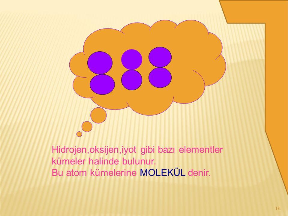 15 Çok sayıda aynı çeşit atomların bir araya gelerek oluşturduğu maddeye ELEMENT denir.