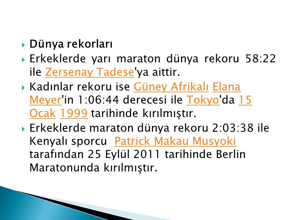  Dünya rekorları  Erkeklerde yarı maraton dünya rekoru 58:22 ile Zersenay Tadese'ya aittir.Zersenay Tadese  Kadınlar rekoru ise Güney Afrikalı Elan