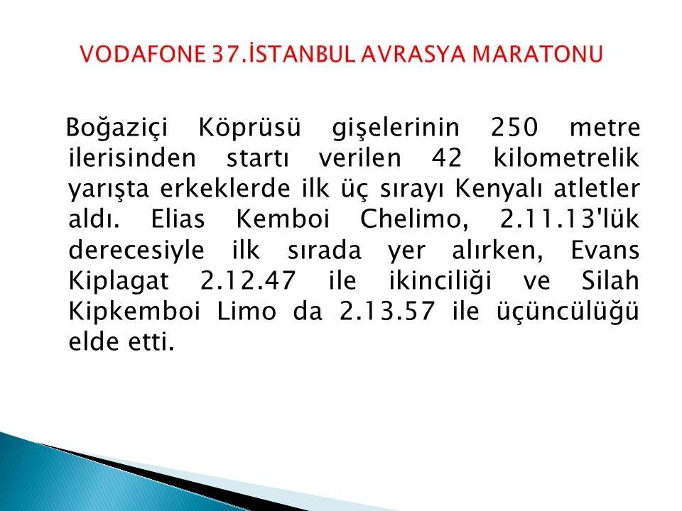 Boğaziçi Köprüsü gişelerinin 250 metre ilerisinden startı verilen 42 kilometrelik yarışta erkeklerde ilk üç sırayı Kenyalı atletler aldı. Elias Kemboi