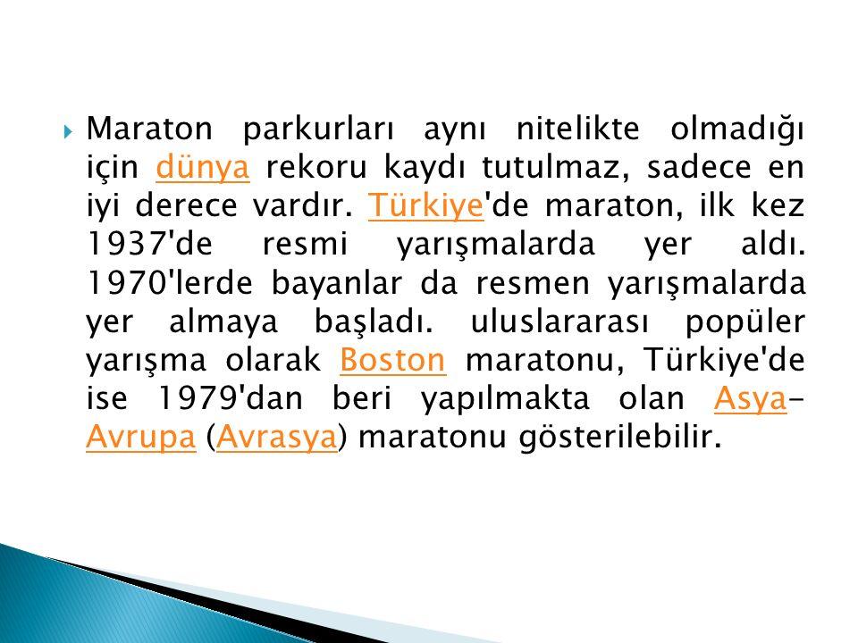  Maraton parkurları aynı nitelikte olmadığı için dünya rekoru kaydı tutulmaz, sadece en iyi derece vardır. Türkiye'de maraton, ilk kez 1937'de resmi