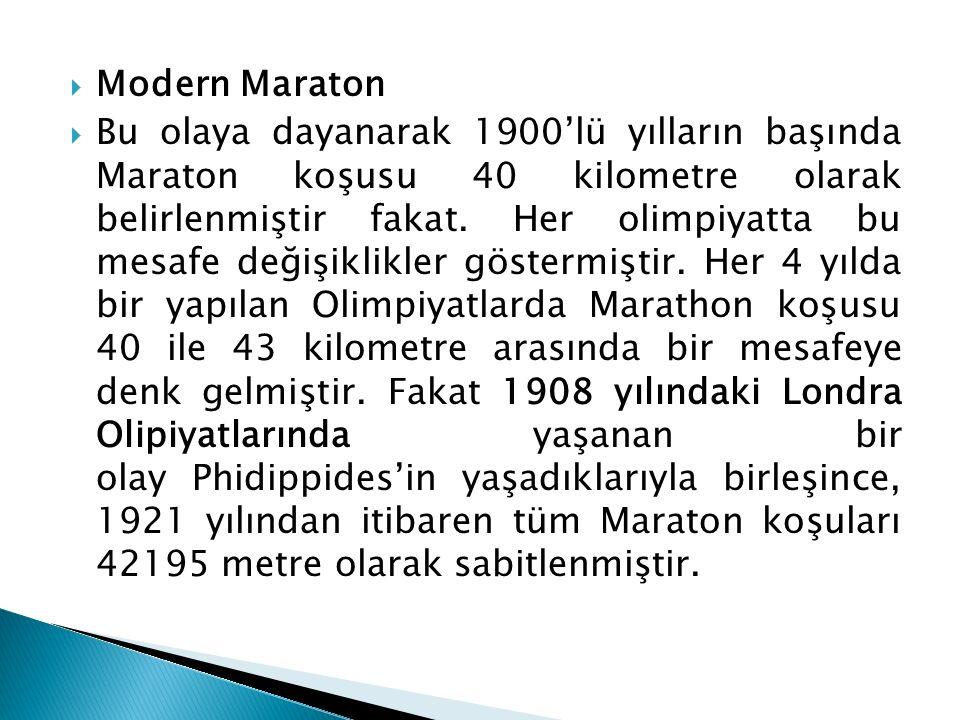  Modern Maraton  Bu olaya dayanarak 1900'lü yılların başında Maraton koşusu 40 kilometre olarak belirlenmiştir fakat. Her olimpiyatta bu mesafe deği