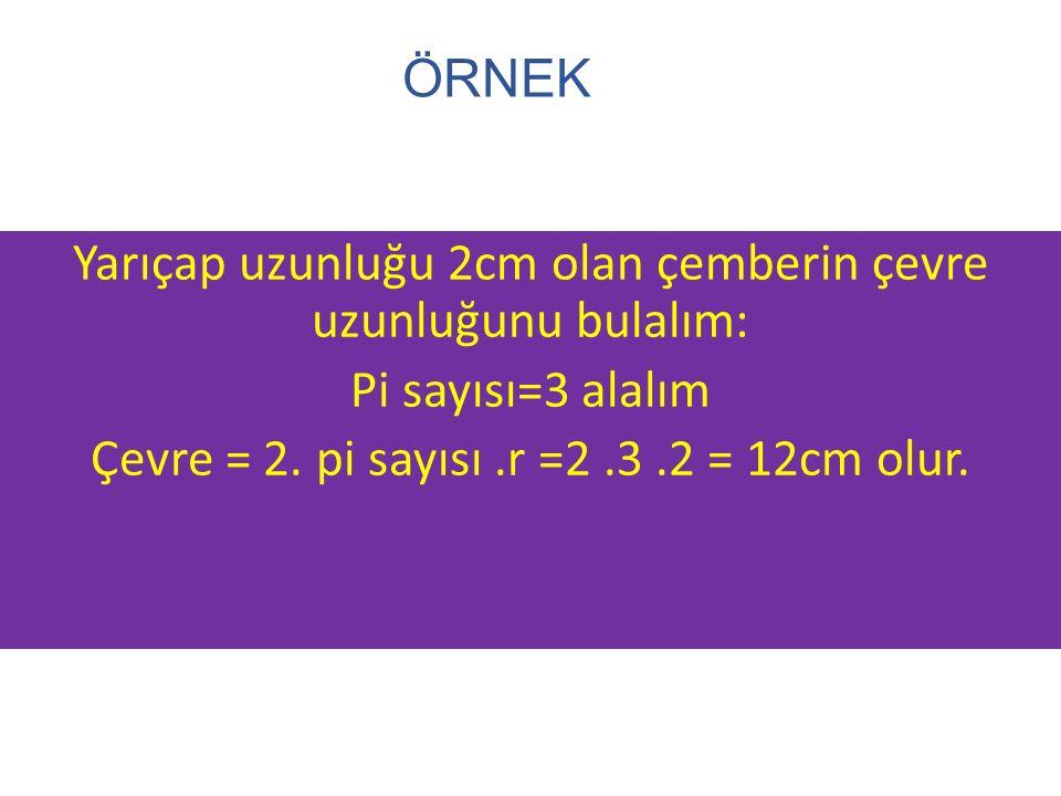 ÖRNEK Yarıçap uzunluğu 2cm olan çemberin çevre uzunluğunu bulalım: Pi sayısı=3 alalım Çevre = 2. pi sayısı.r =2.3.2 = 12cm olur.