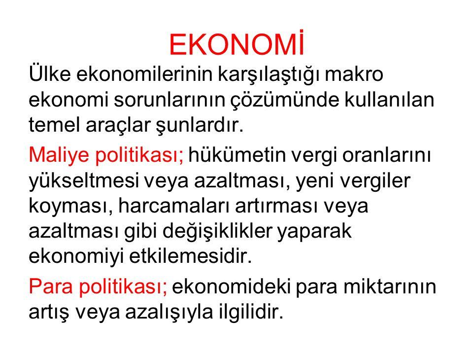 EKONOMİ Ülke ekonomilerinin karşılaştığı makro ekonomi sorunlarının çözümünde kullanılan temel araçlar şunlardır. Maliye politikası; hükümetin vergi o