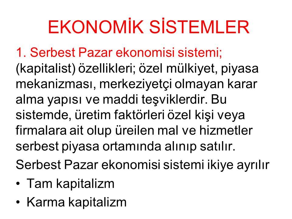 EKONOMİK SİSTEMLER 1. Serbest Pazar ekonomisi sistemi; (kapitalist) özellikleri; özel mülkiyet, piyasa mekanizması, merkeziyetçi olmayan karar alma ya