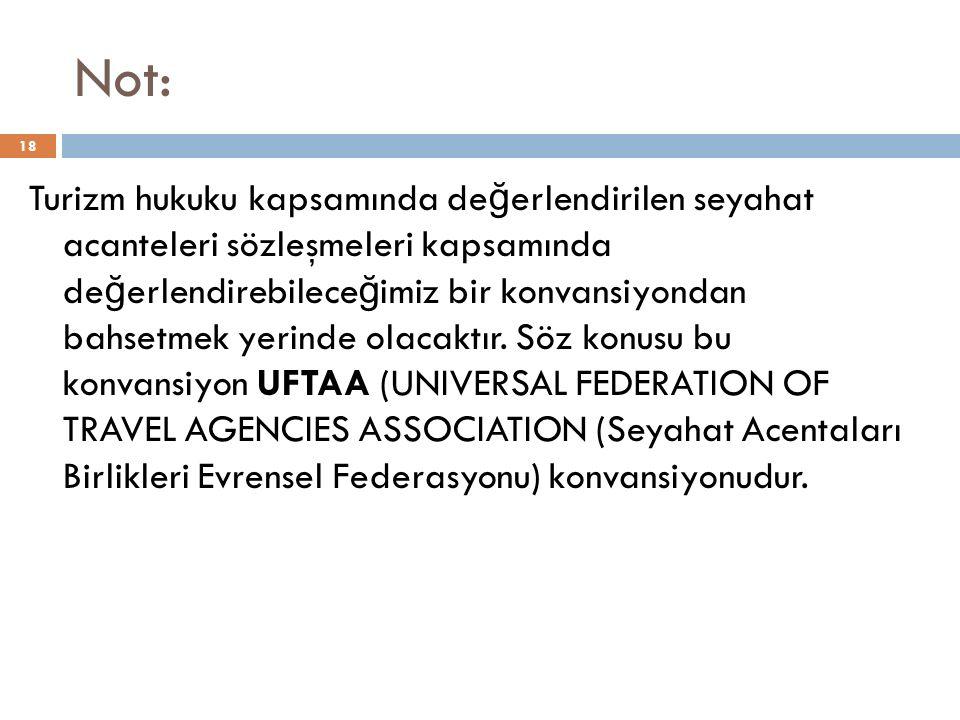 Not: 18 Turizm hukuku kapsamında de ğ erlendirilen seyahat acanteleri sözleşmeleri kapsamında de ğ erlendirebilece ğ imiz bir konvansiyondan bahsetmek yerinde olacaktır.