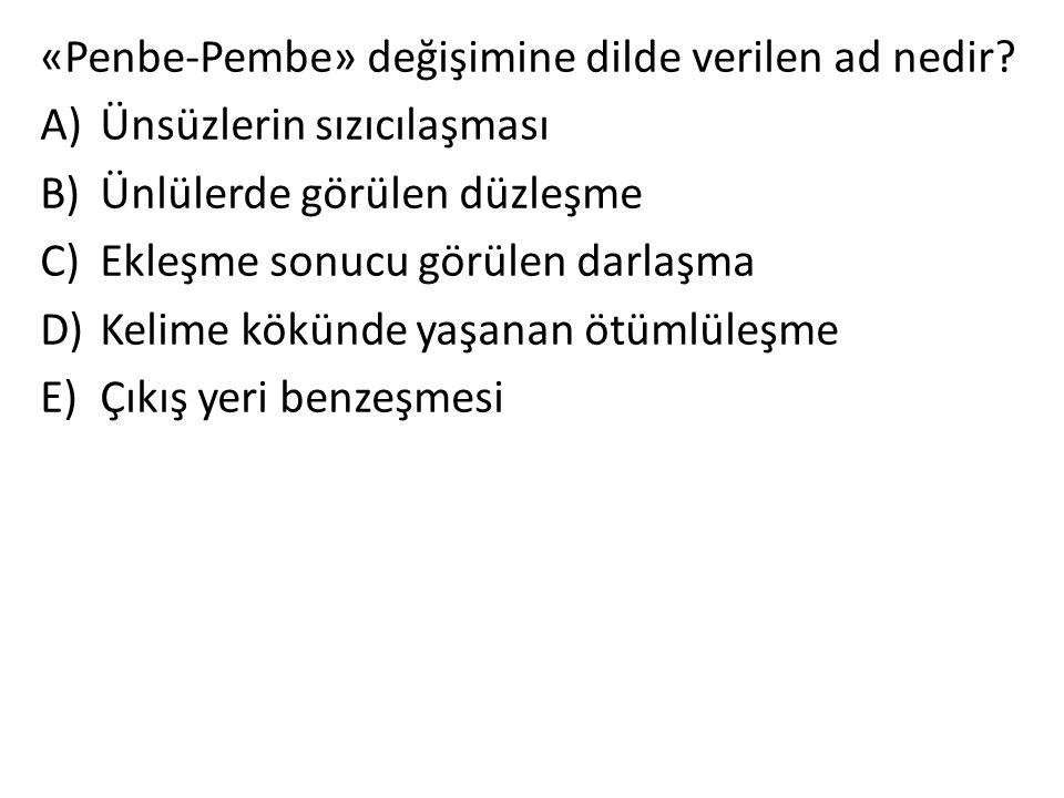 «Penbe-Pembe» değişimine dilde verilen ad nedir? A)Ünsüzlerin sızıcılaşması B)Ünlülerde görülen düzleşme C)Ekleşme sonucu görülen darlaşma D)Kelime kö