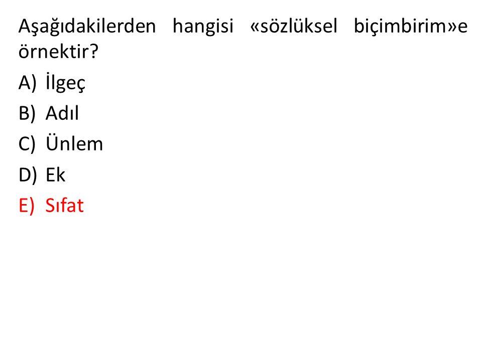 Aşağıdakilerden hangisi «sözlüksel biçimbirim»e örnektir? A)İlgeç B)Adıl C)Ünlem D)Ek E)Sıfat