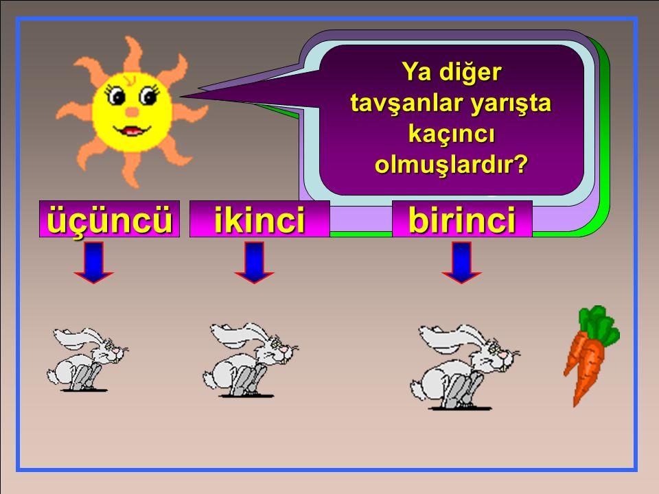 Havucu kapma yarışmasıyapılıyor. Hangi tavşan havuca daha yakın? En önce havucu kapan tavşan yarışta kaçıncı olmuş? Tabikibirinciolmuş. birinci Ya diğ