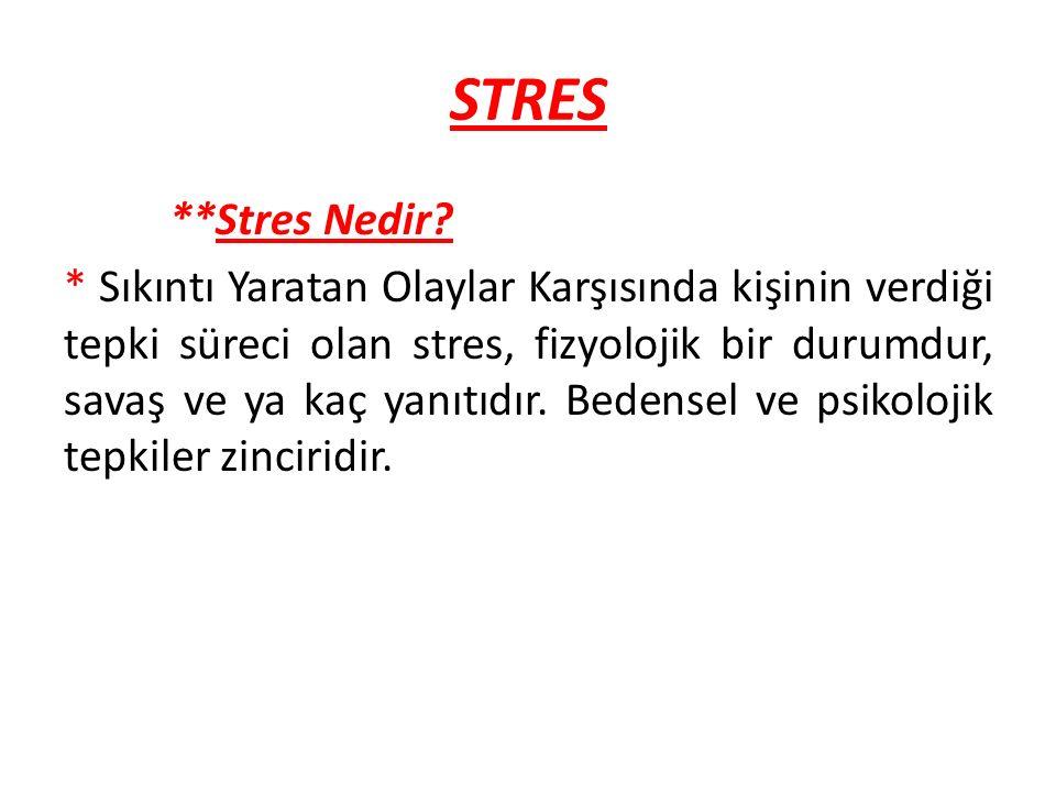Stresin Olumlu Etkileri * * Koruyucu bir tepkidir.