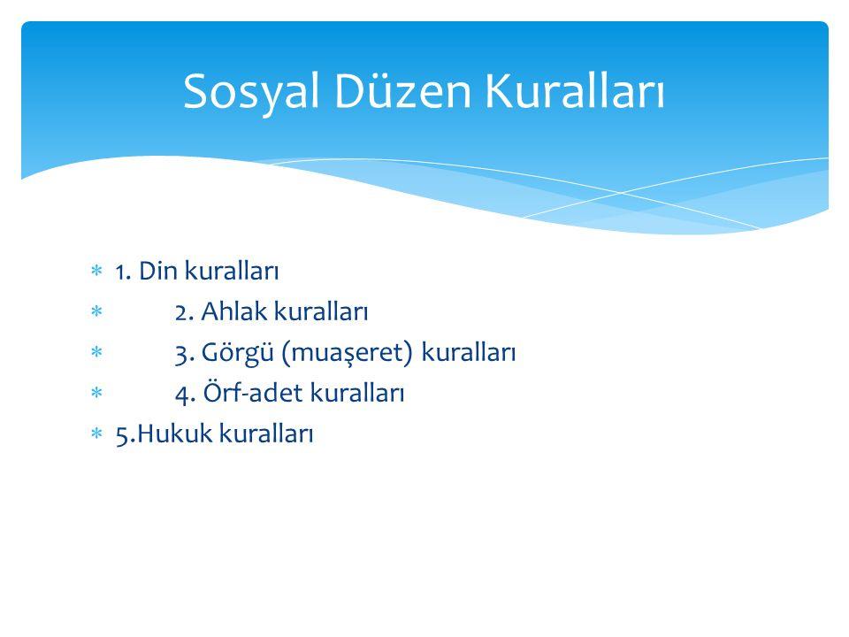  1. Din kuralları  2. Ahlak kuralları  3. Görgü (muaşeret) kuralları  4. Örf-adet kuralları  5.Hukuk kuralları Sosyal Düzen Kuralları