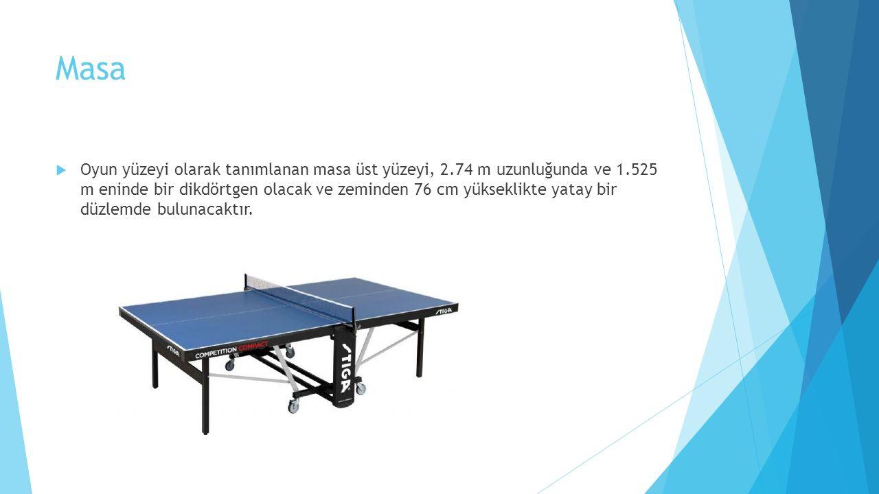 Masa  Oyun yüzeyi olarak tanımlanan masa üst yüzeyi, 2.74 m uzunluğunda ve 1.525 m eninde bir dikdörtgen olacak ve zeminden 76 cm yükseklikte yatay bir düzlemde bulunacaktır.
