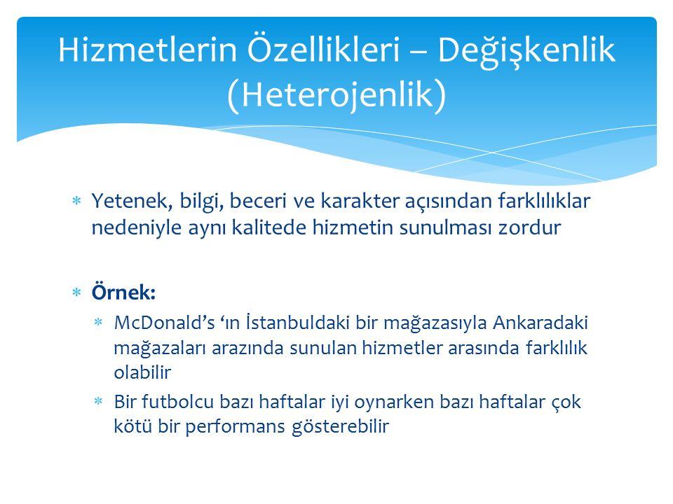  Yetenek, bilgi, beceri ve karakter açısından farklılıklar nedeniyle aynı kalitede hizmetin sunulması zordur  Örnek:  McDonald's 'ın İstanbuldaki b