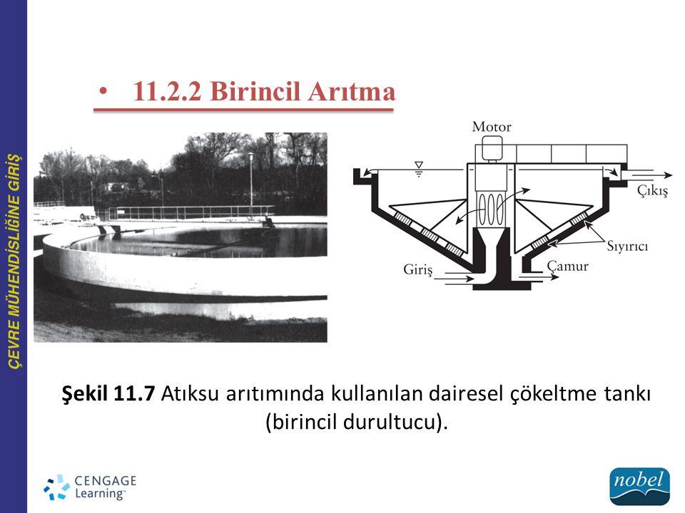 11.2.2 Birincil Arıtma Şekil 11.7 Atıksu arıtımında kullanılan dairesel çökeltme tankı (birincil durultucu).