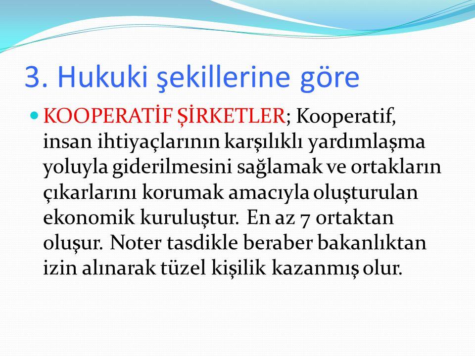 3. Hukuki şekillerine göre KOOPERATİF ŞİRKETLER; Kooperatif, insan ihtiyaçlarının karşılıklı yardımlaşma yoluyla giderilmesini sağlamak ve ortakların