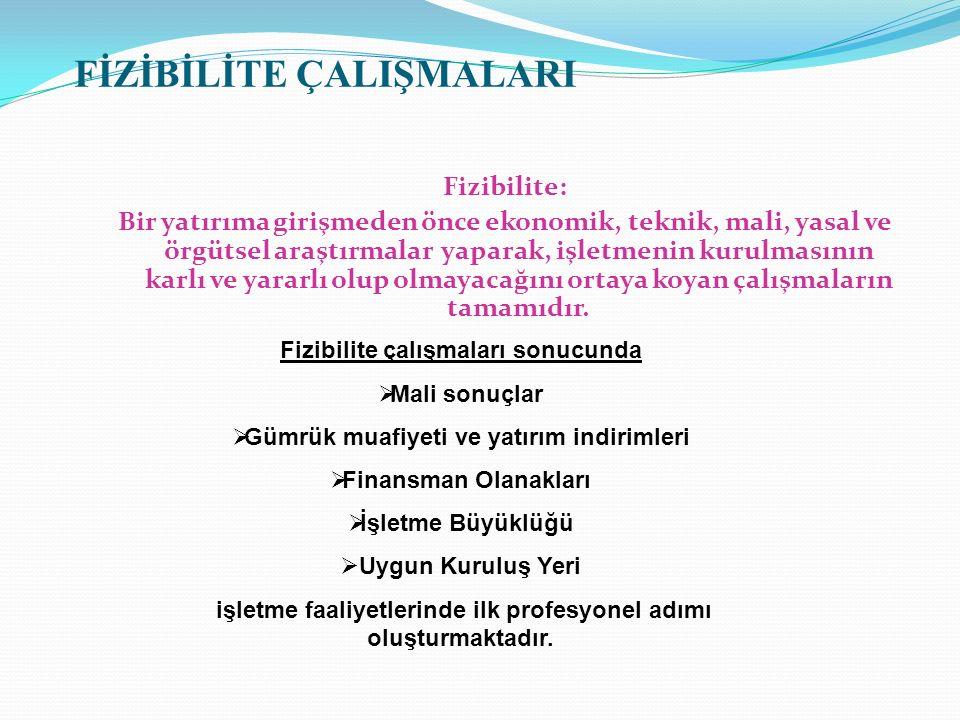 Fizibilite: Bir yatırıma girişmeden önce ekonomik, teknik, mali, yasal ve örgütsel araştırmalar yaparak, işletmenin kurulmasının karlı ve yararlı olup