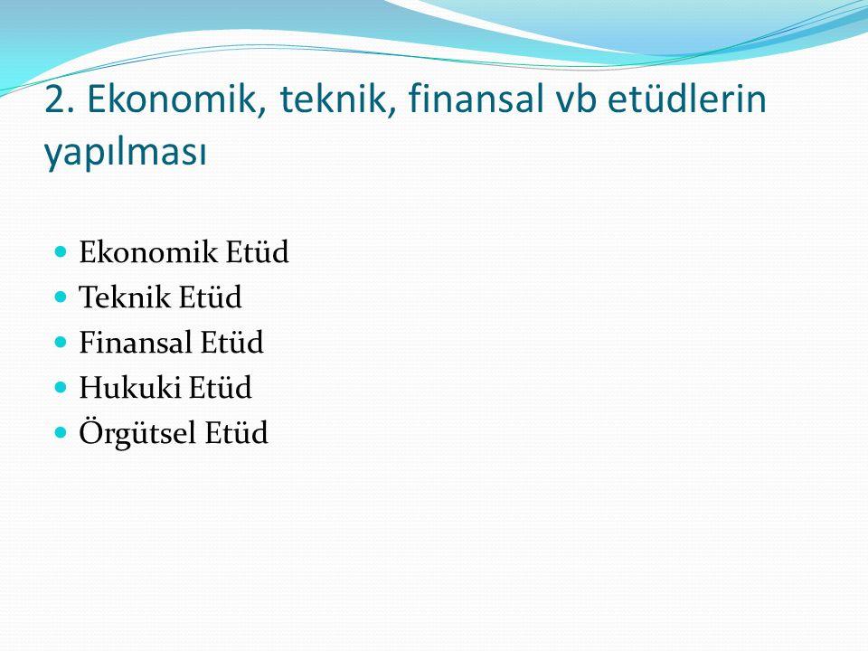 2. Ekonomik, teknik, finansal vb etüdlerin yapılması Ekonomik Etüd Teknik Etüd Finansal Etüd Hukuki Etüd Örgütsel Etüd