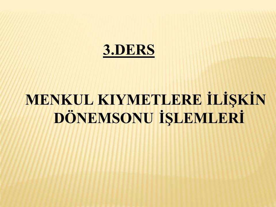MENKUL KIYMETLERE İLİŞKİN DÖNEMSONU İŞLEMLERİ 3.DERS