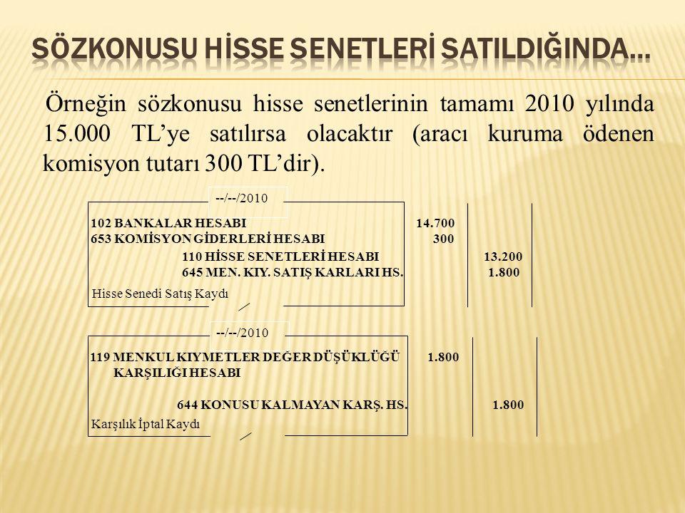 Örneğin sözkonusu hisse senetlerinin tamamı 2010 yılında 15.000 TL'ye satılırsa olacaktır (aracı kuruma ödenen komisyon tutarı 300 TL'dir). --/--/2010