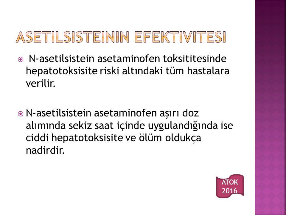  N-asetilsistein asetaminofen toksititesinde hepatotoksisite riski altındaki tüm hastalara verilir.