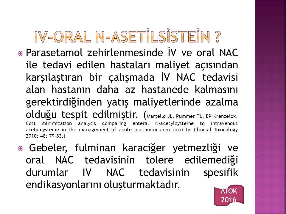  Parasetamol zehirlenmesinde İV ve oral NAC ile tedavi edilen hastaları maliyet açısından karşılaştıran bir çalışmada İV NAC tedavisi alan hastanın daha az hastanede kalmasını gerektirdiğinden yatış maliyetlerinde azalma olduğu tespit edilmiştir.