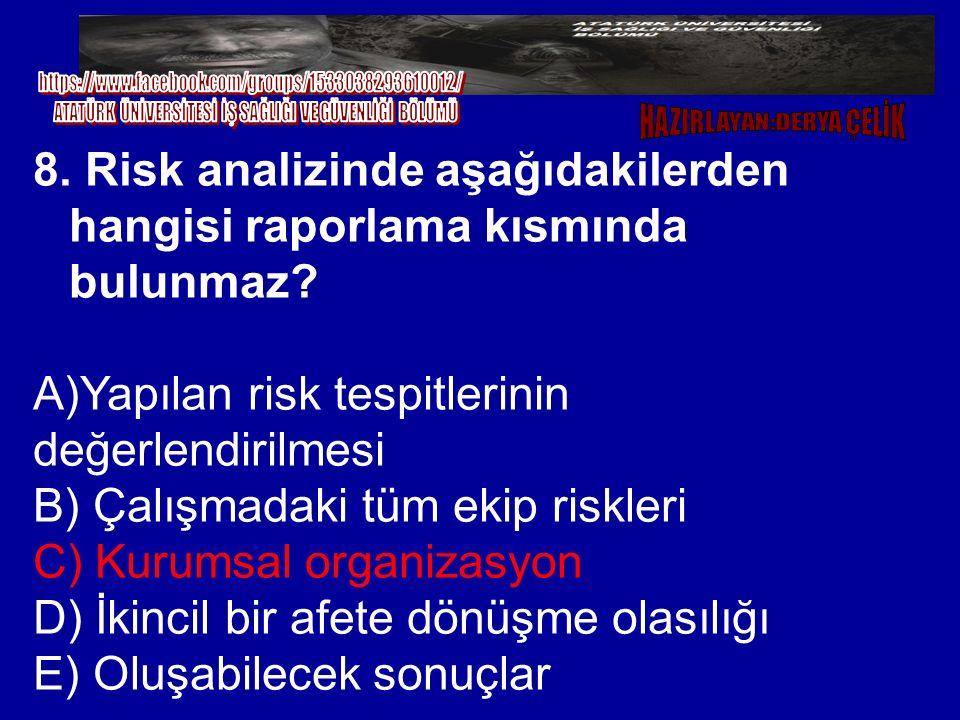 8. Risk analizinde aşağıdakilerden hangisi raporlama kısmında bulunmaz? A)Yapılan risk tespitlerinin değerlendirilmesi B) Çalışmadaki tüm ekip riskler