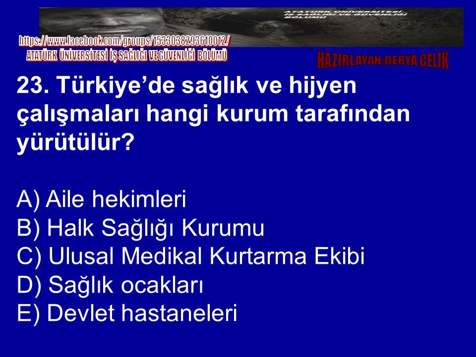 23. Türkiye'de sağlık ve hijyen çalışmaları hangi kurum tarafından yürütülür? A) Aile hekimleri B) Halk Sağlığı Kurumu C) Ulusal Medikal Kurtarma Ekib