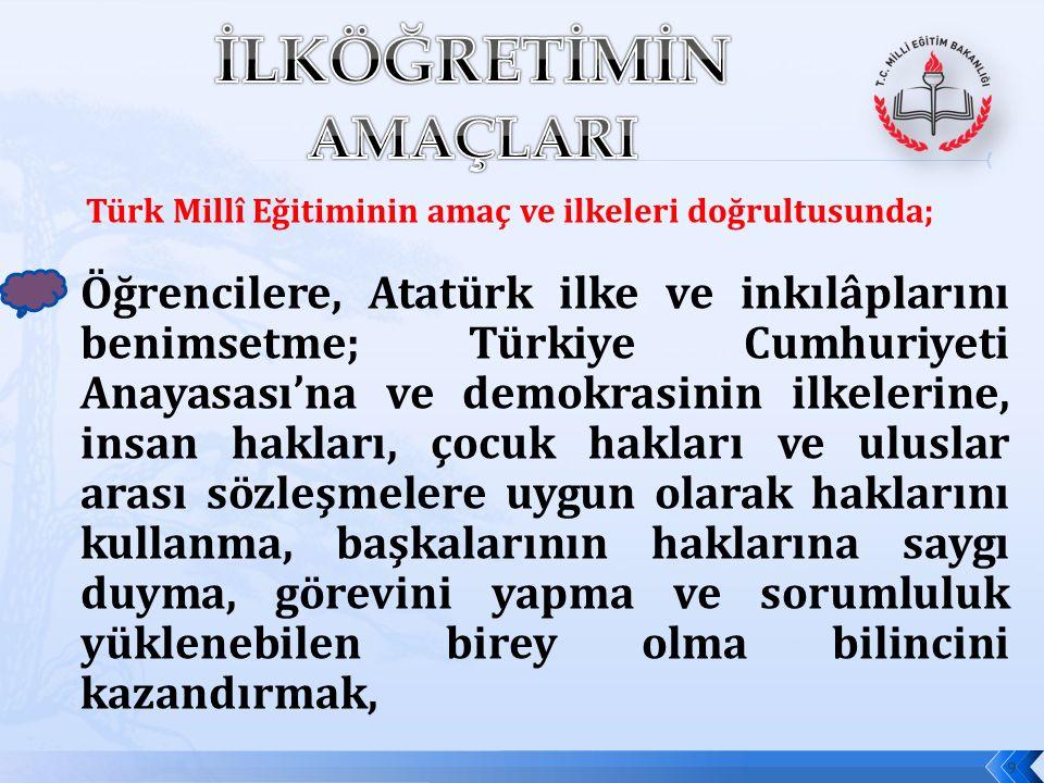 Türk Millî Eğitiminin amaç ve ilkeleri doğrultusunda; Öğrencilere, Atatürk ilke ve inkılâplarını benimsetme; Türkiye Cumhuriyeti Anayasası'na ve demokrasinin ilkelerine, insan hakları, çocuk hakları ve uluslar arası sözleşmelere uygun olarak haklarını kullanma, başkalarının haklarına saygı duyma, görevini yapma ve sorumluluk yüklenebilen birey olma bilincini kazandırmak, 9